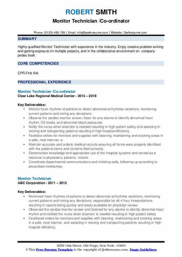 Monitor Technician /Co-ordinator Resume Template