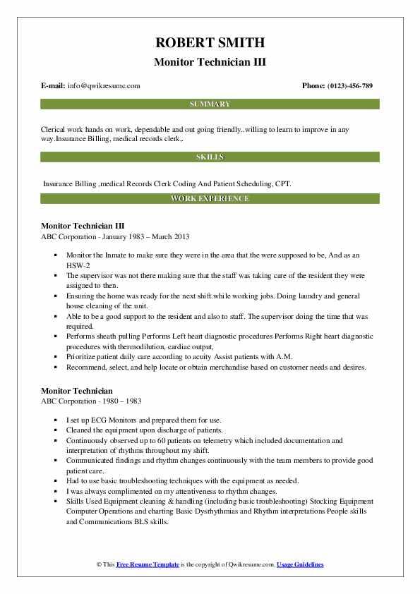 Monitor Technician III Resume Sample