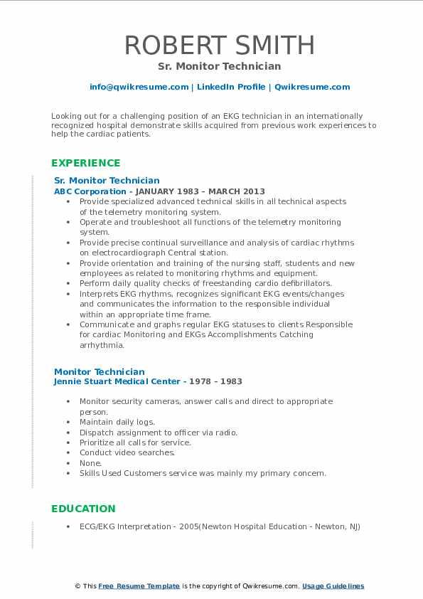 monitor technician resume samples