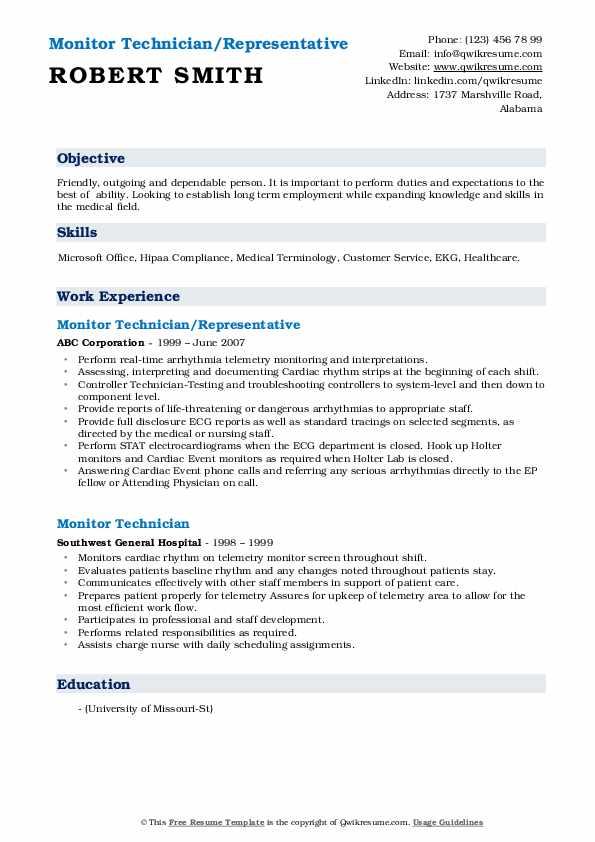 Monitor Technician/Representative Resume Sample