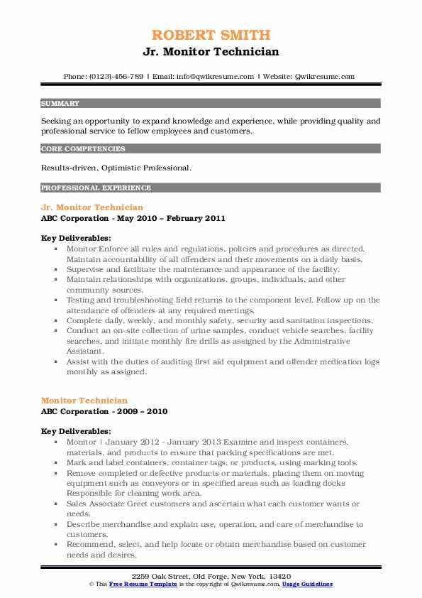 Jr. Monitor Technician Resume Example