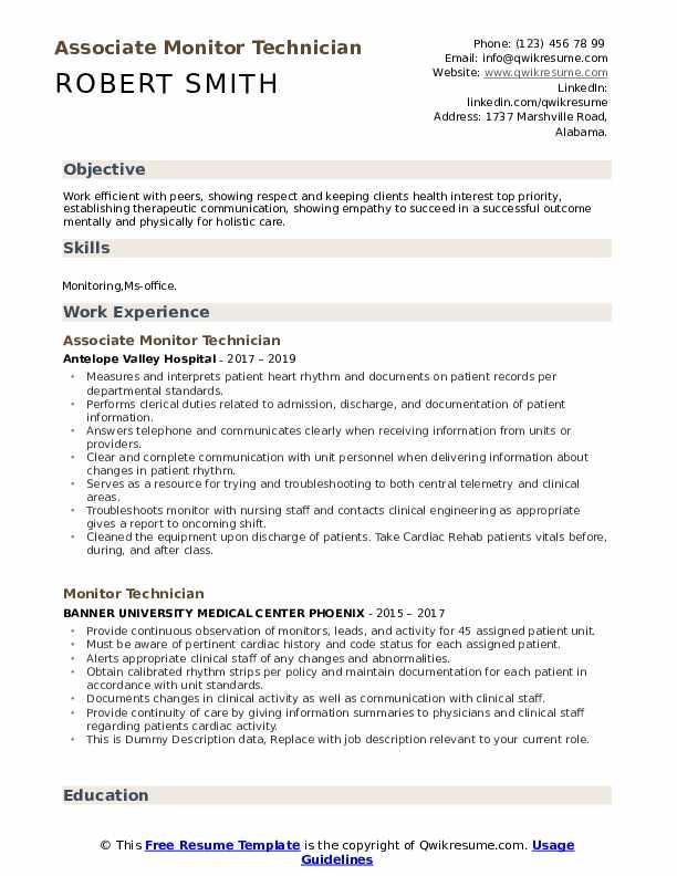 Associate Monitor Technician Resume Format