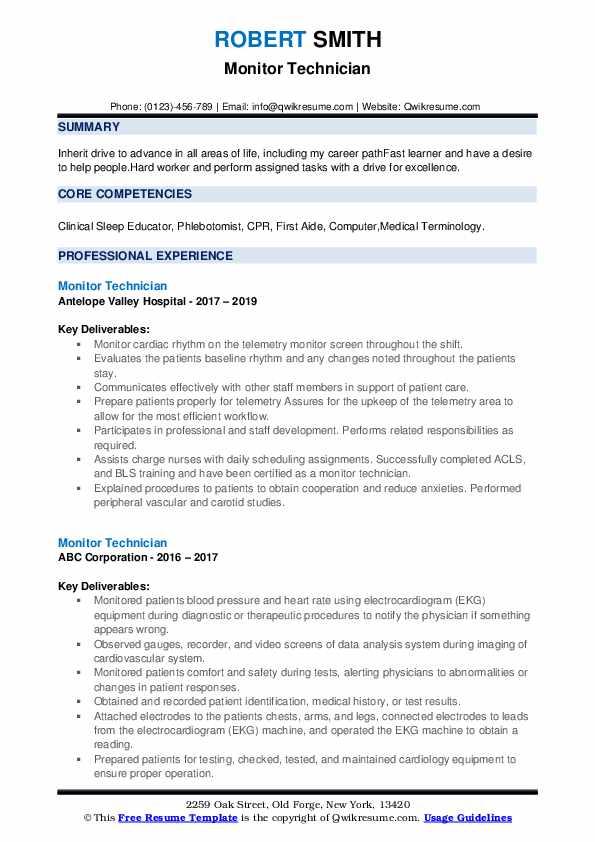 Monitor Technician Resume example