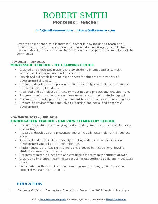 Montessori Teacher Resume Samples Qwikresume