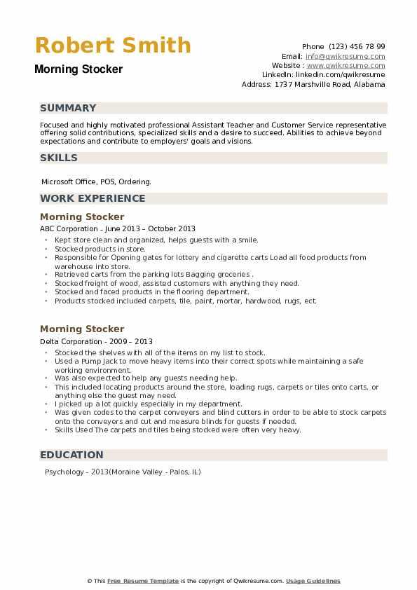 Morning Stocker Resume example