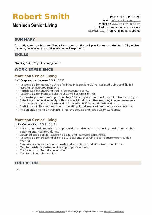 Morrison Senior Living Resume example
