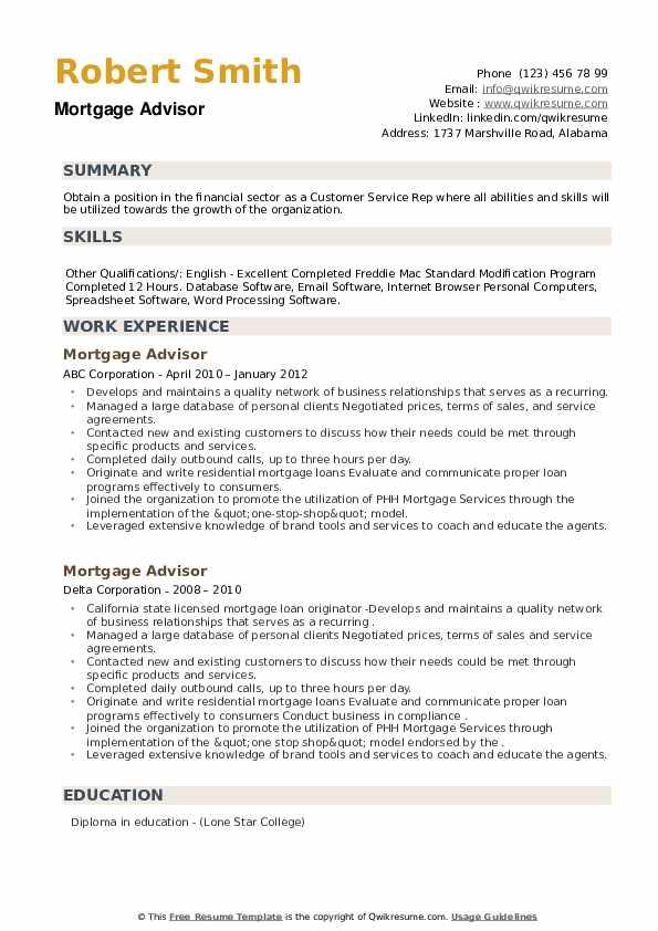 Mortgage Advisor Resume example