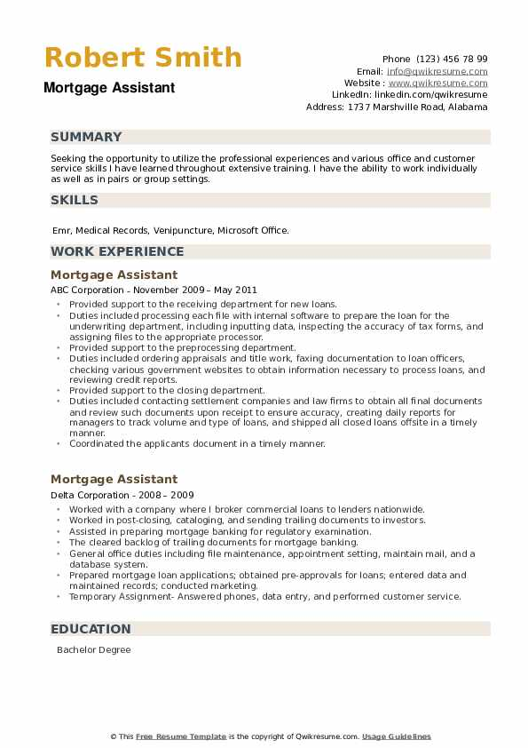 Mortgage Assistant Resume example