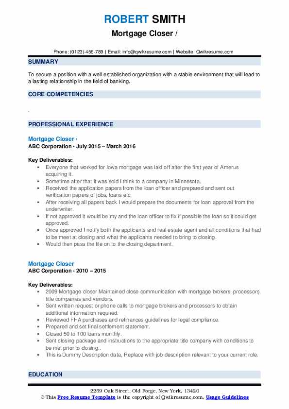 Mortgage Closer Resume example
