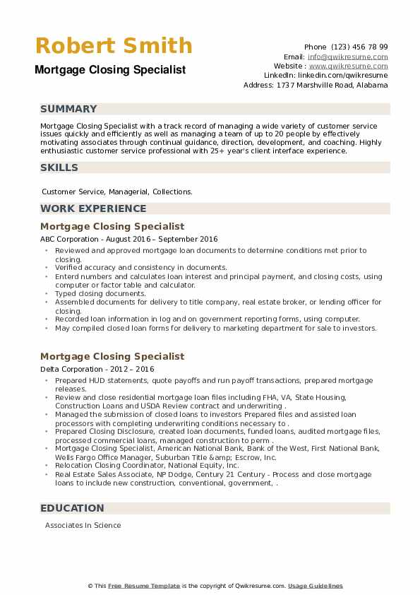 Mortgage Closing Specialist Resume example