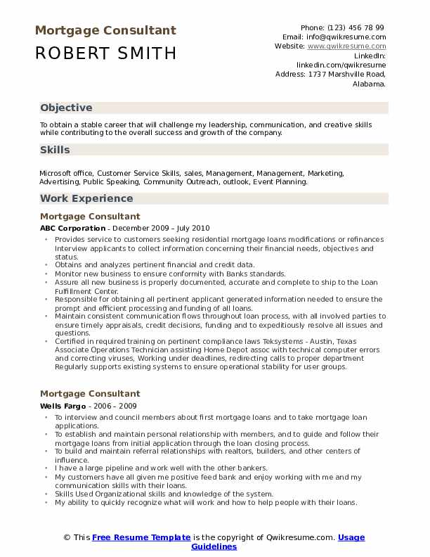 Mortgage Consultant Resume Template