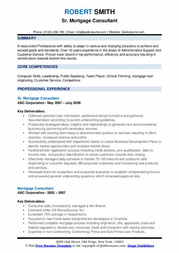 Sr. Mortgage Consultant Resume Example