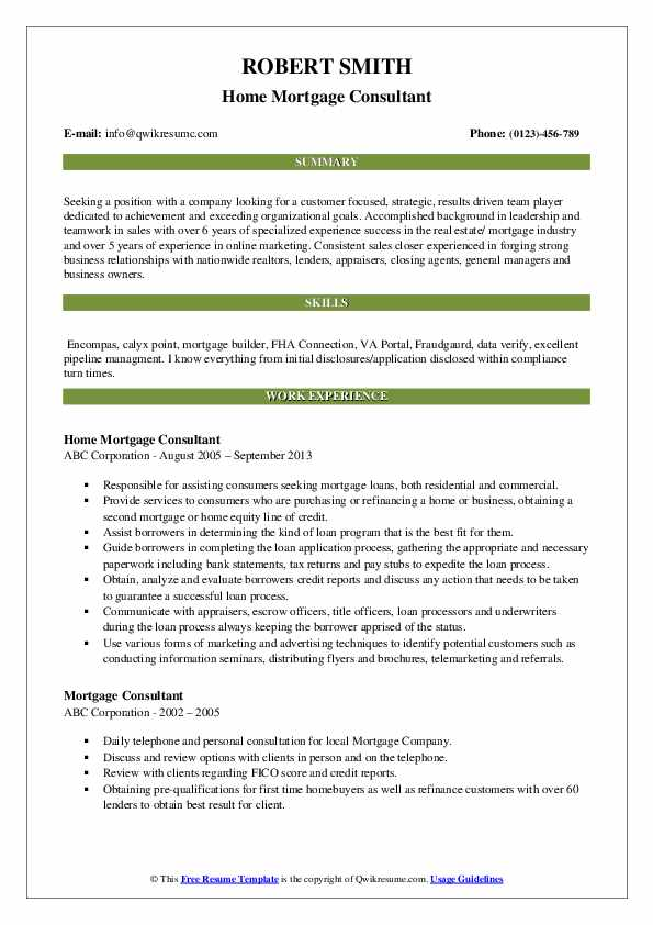 Home Mortgage Consultant Resume Sample