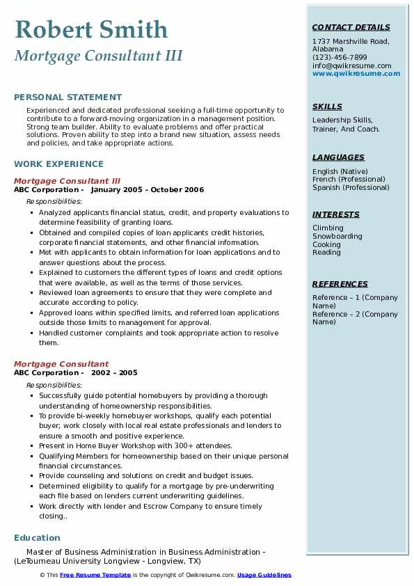 Mortgage Consultant III Resume Example
