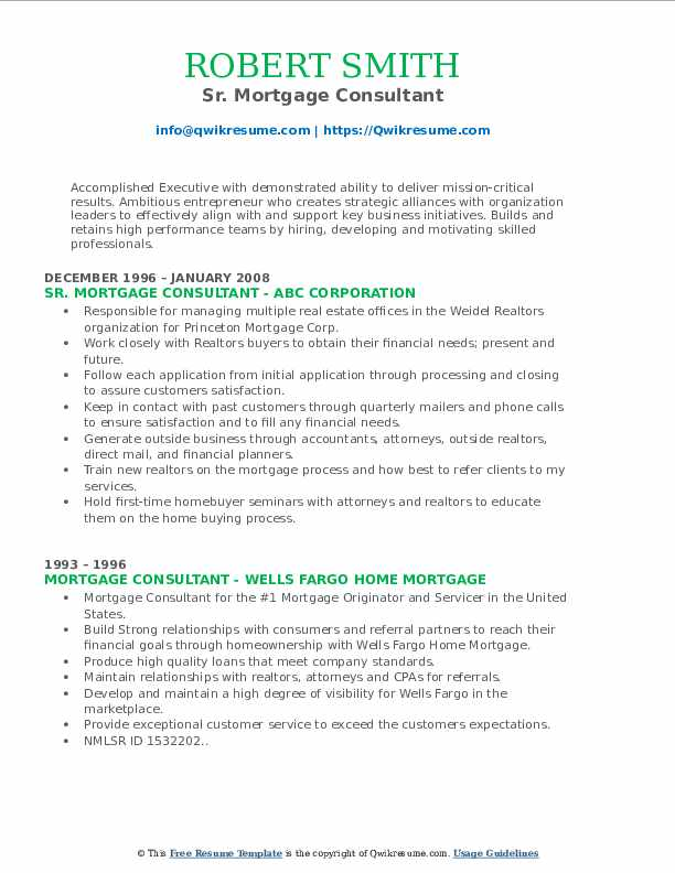 Sr. Mortgage Consultant Resume Sample