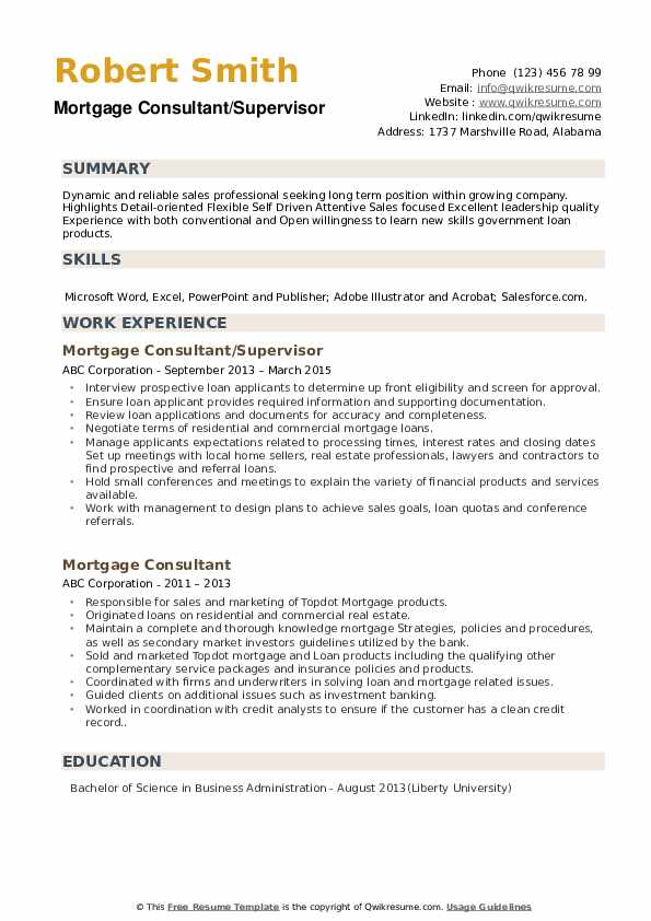 Mortgage Consultant/Supervisor Resume Format