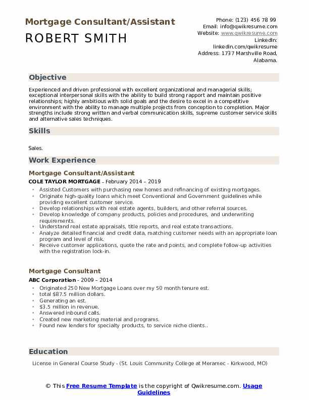 Mortgage Consultant/Assistant Resume Model