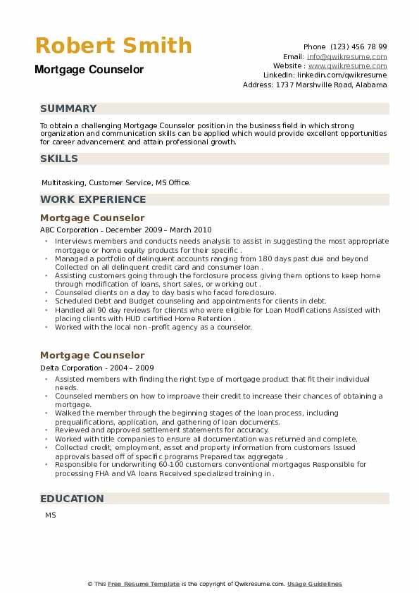 Mortgage Counselor Resume example