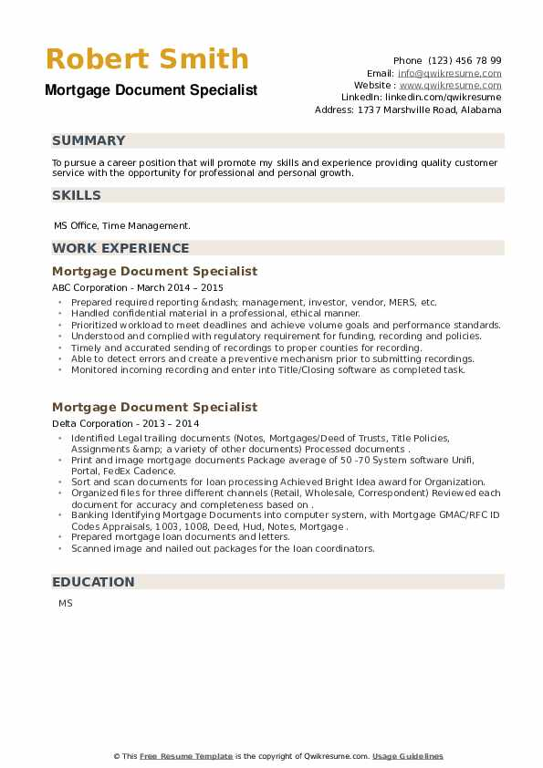 Mortgage Document Specialist Resume example