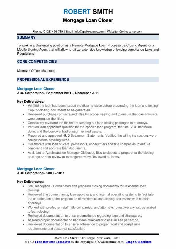Mortgage Loan Closer Resume Format