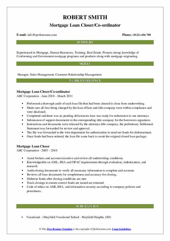 Mortgage Loan Closer/Co-ordinator Resume Model