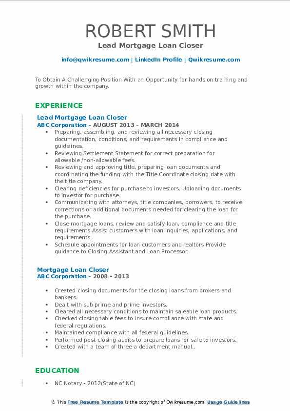 Lead Mortgage Loan Closer Resume Model