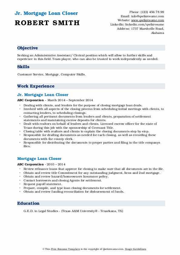 Mortgage Loan Closer Resume Samples Qwikresume