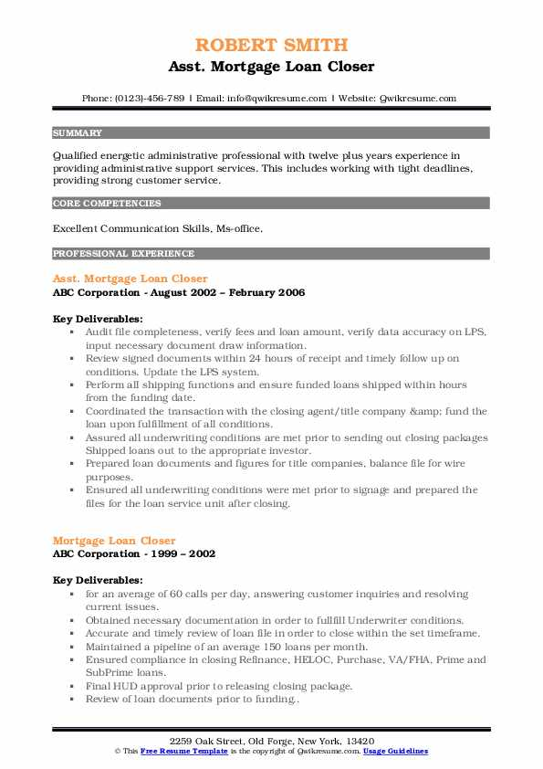 Asst. Mortgage Loan Closer Resume Format