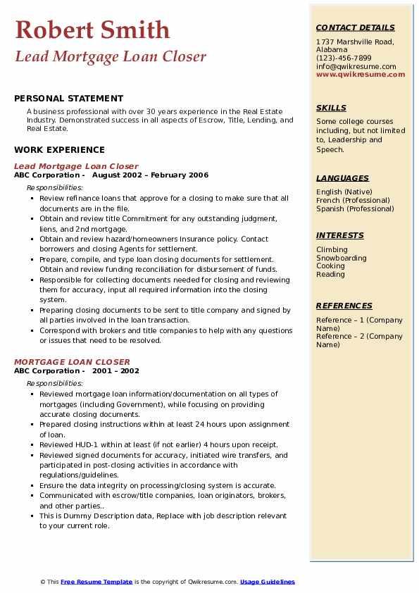 Lead Mortgage Loan Closer Resume Example