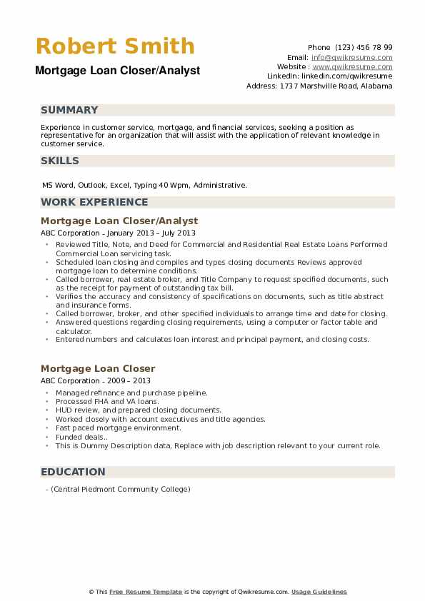 Mortgage Loan Closer/Analyst Resume Example