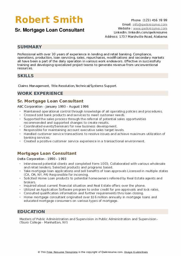 Mortgage Loan Consultant Resume example