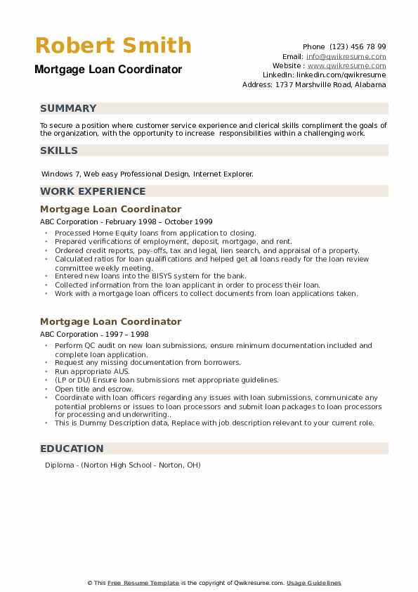 Mortgage Loan Coordinator Resume example
