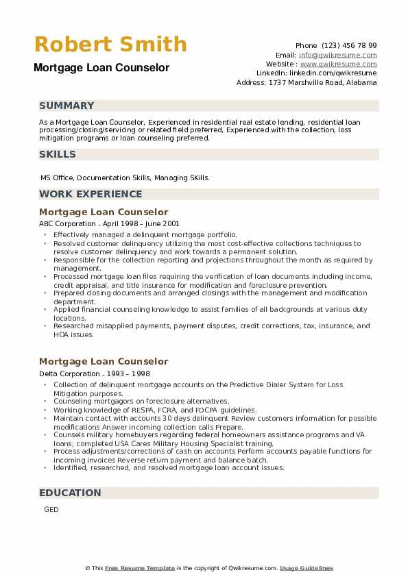 Mortgage Loan Counselor Resume example