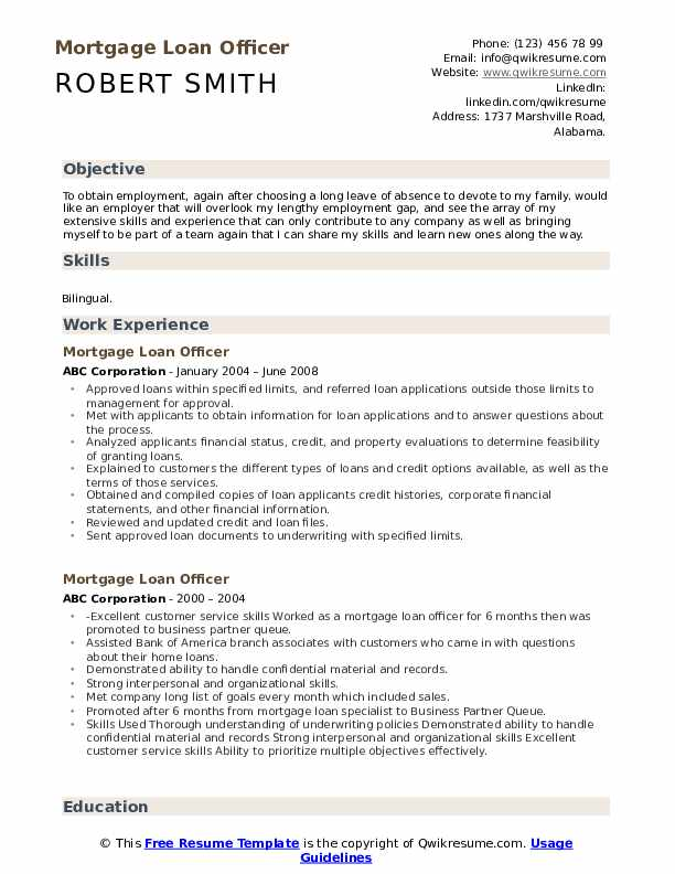Mortgage Loan Officer Resume Template