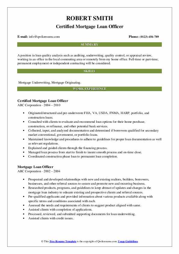 Certified Mortgage Loan Officer Resume Template