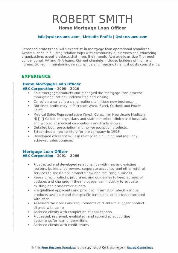 Home Mortgage Loan Officer Resume Model