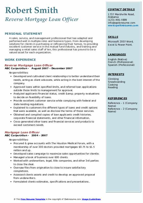 Reverse Mortgage Loan Officer Resume Format