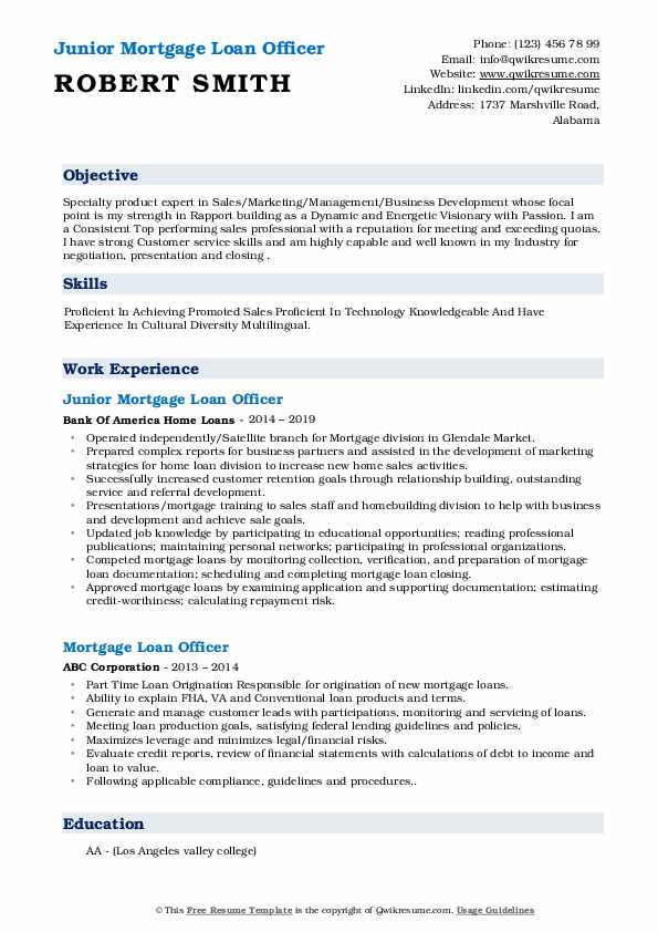Junior Mortgage Loan Officer Resume Model