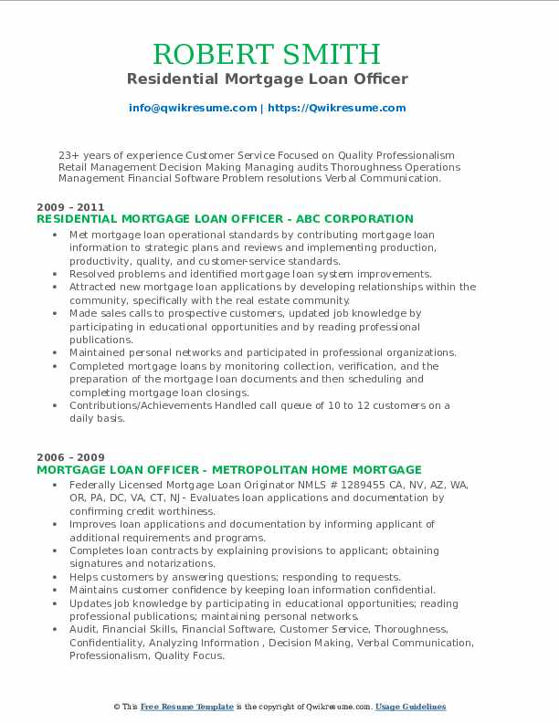 Residential Mortgage Loan Officer Resume Format