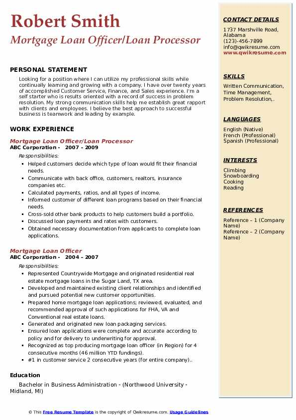 Mortgage Loan Officer/Loan Processor Resume Template