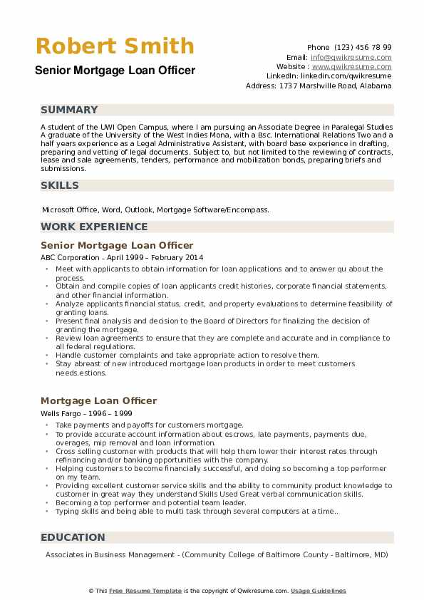 Senior Mortgage Loan Officer Resume Sample