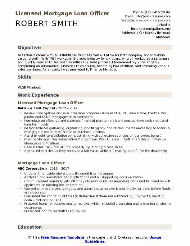 Licensed Mortgage Loan Officer Resume Sample