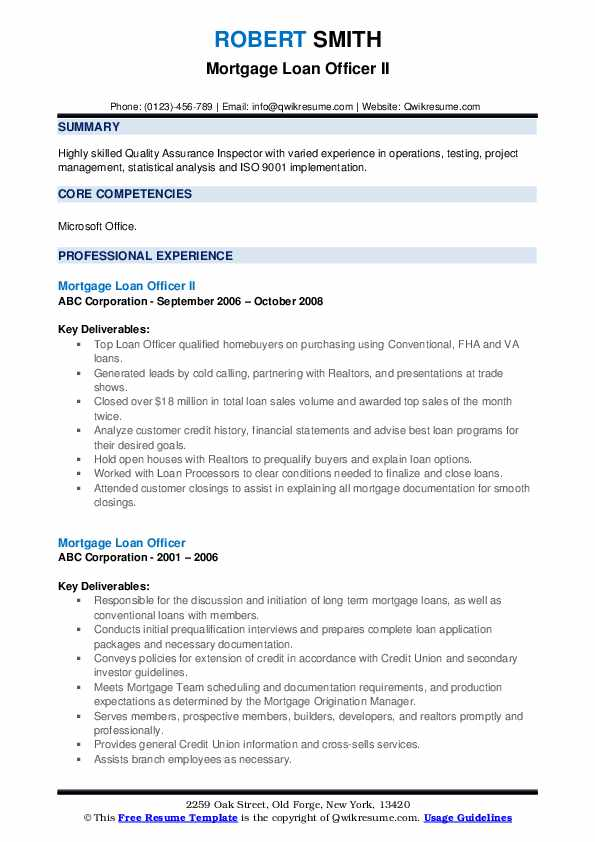 Mortgage Loan Officer II Resume Template