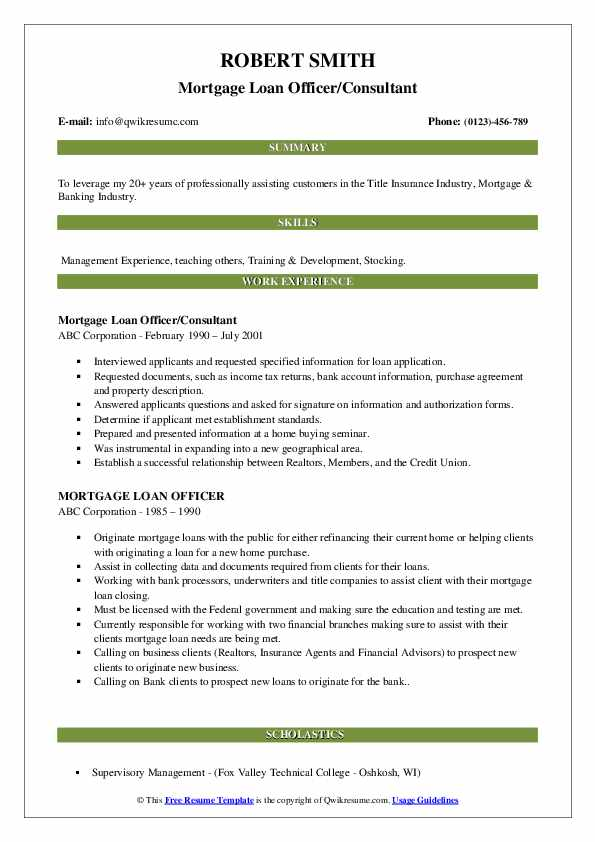 Mortgage Loan Officer/Consultant Resume Format