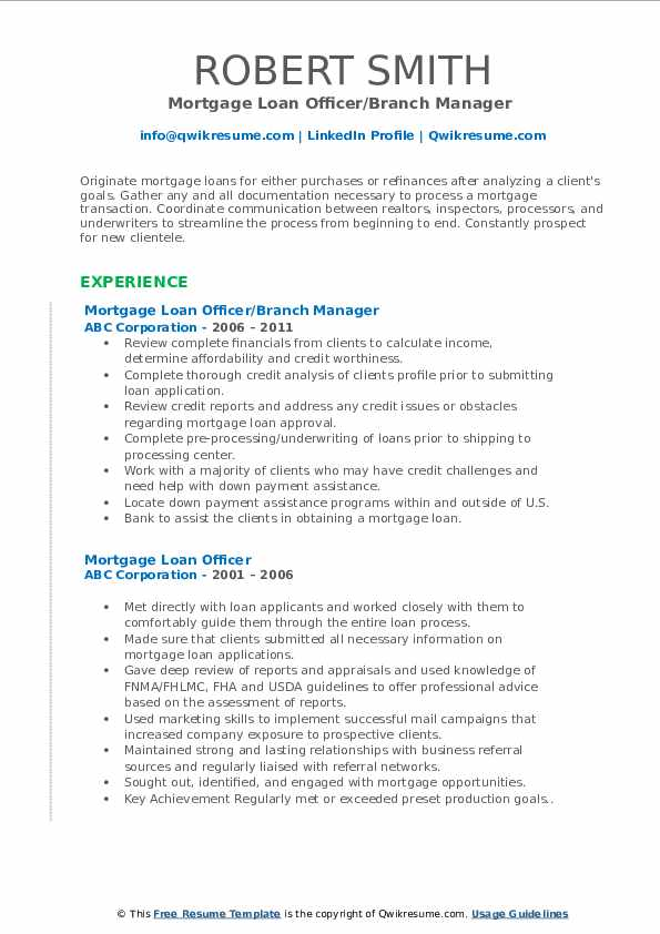 Mortgage Loan Officer/Branch Manager  Resume Example