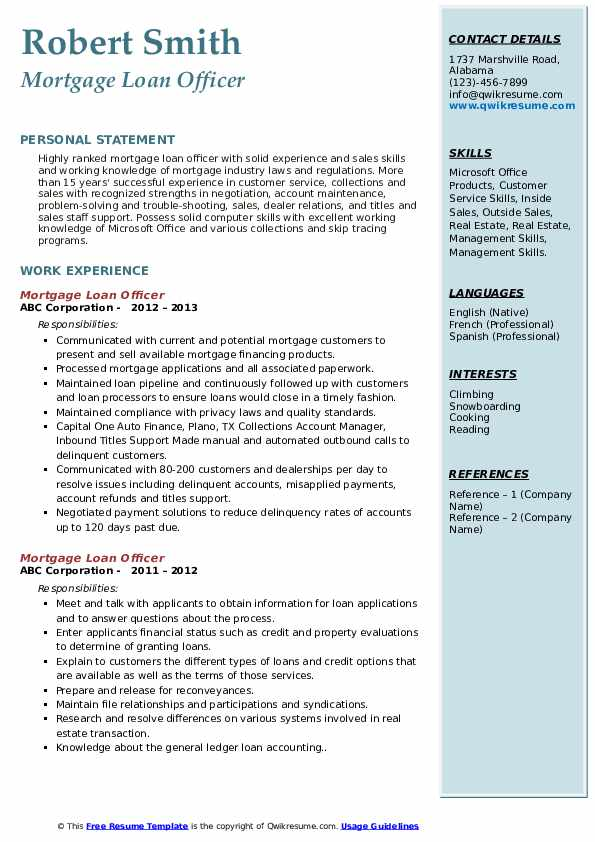 Mortgage Loan Officer Resume example