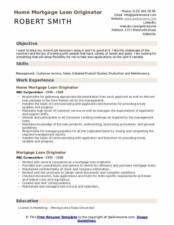 Home Mortgage Loan Originator Resume Model
