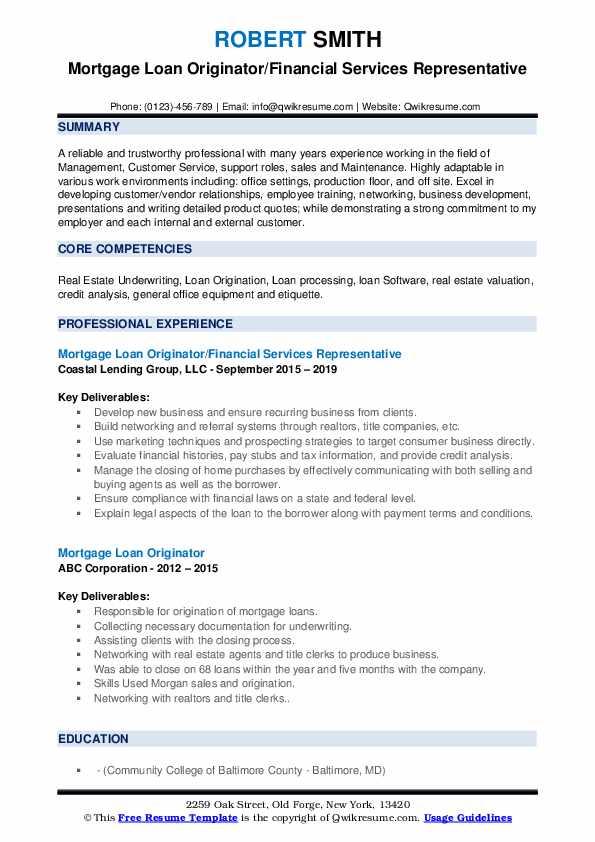 Mortgage Loan Originator/Financial Services Representative Resume Example