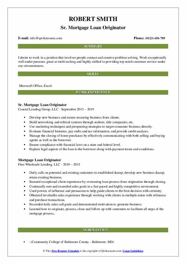 Sr. Mortgage Loan Originator Resume Example
