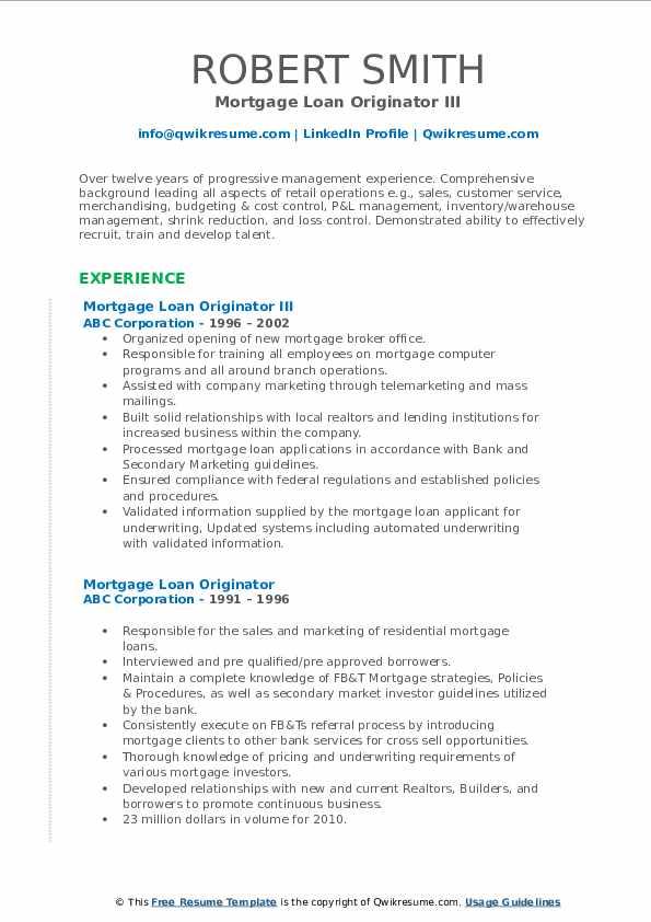 Mortgage Loan Originator III Resume Format
